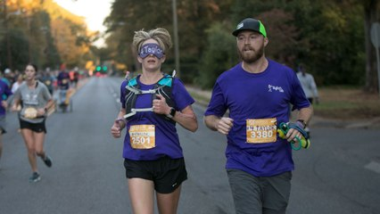 Woman Runs Half Marathon While Blindfolded to Honor Late Sister