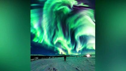 Imágenes del Día de la NASA: La Aurora Boreal del DRAGÓN en Islandia