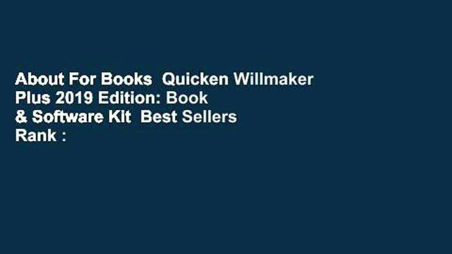 About For Books  Quicken Willmaker Plus 2019 Edition: Book & Software Kit  Best Sellers Rank : #2