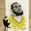Basket-Ball - Boubou painted LeBron James while dribbling a basketball