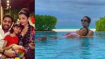 Aishwarya Rai Bachchan enjoys in pool with Aaradhya Bachchan & Abhishek Bachchan | FilmiBeat
