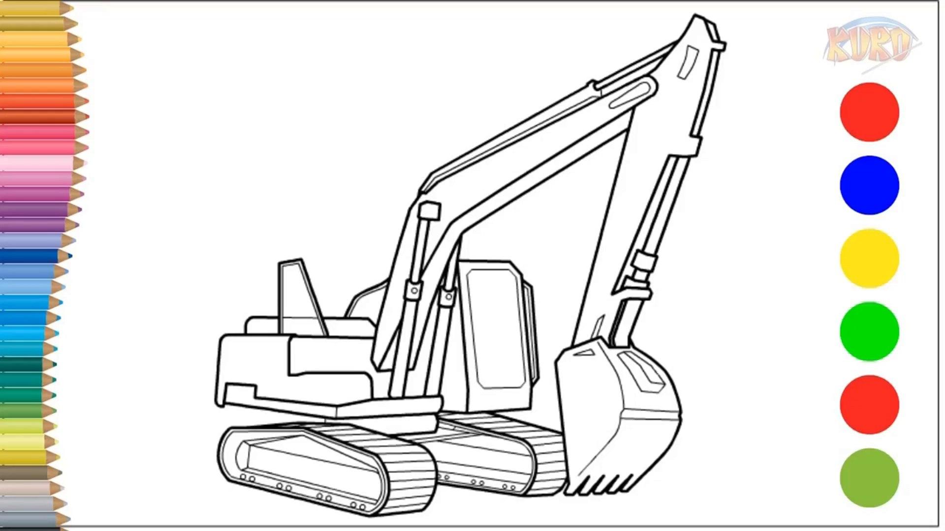 Learn To Draw And Coloring Excavator Belajar Menggambar Dan Mewarnai Begho