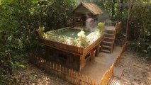 PRIMITIVE BUILDERS - Build Technologically Modern Forest Houses with Garden and Swimming Pool