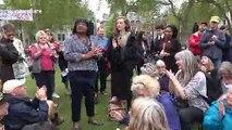 Labour MP Diane Abbott shows support for Extinction Rebellion activists at London's Parliament Square