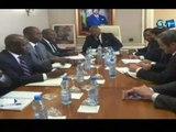 RTG - Séance de travail entre la délégation du FMI et le Ministre du Budget, Jean Fidele OTANDAULT