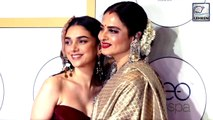 Rekha & Aditi Rao Hydari Share Hugs & Kisses At Global Spa Awards