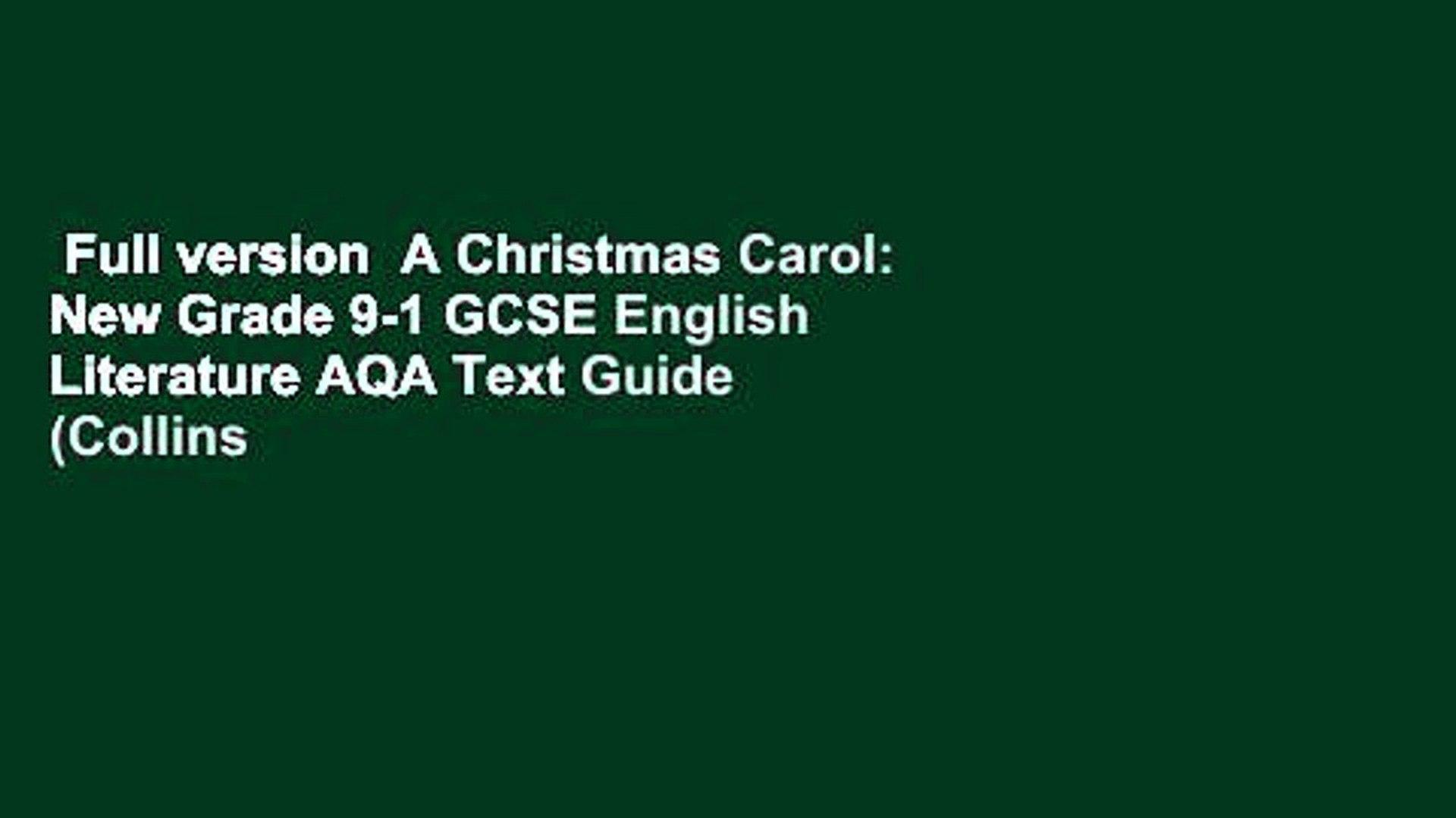 Christmas Carol Text Guide.Full Version A Christmas Carol New Grade 9 1 Gcse English Literature Aqa Text Guide Collins
