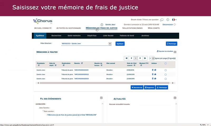 Chorus Pro 2019 - Saisir un mémoire de frais de justice