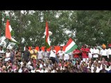 Crowd holding Indian flag on the occasion of Independence day at Wagah border
