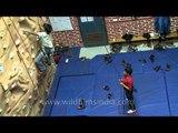 Artificial rock climbing at Woodstock school