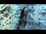Artificial rock climbing wall in the Himalaya