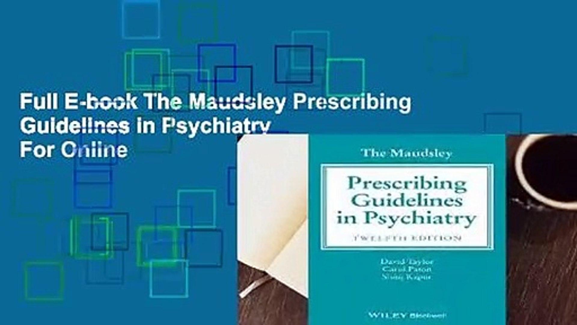 maudsley prescribing guidelines 12th edition pdf free download