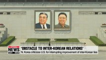 N. Korea criticizes U.S. for interrupting improvement of inter-Korean ties