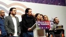 Pablo Iglesias se dirige a la prensa en la noche electoral