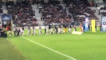 Nos U15-U17 sur la pelouse du stade Matmut atlantique pour porter le tifo centrale (Bordeaux-Lyon le 26 avril 2019)
