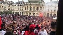 La Coupe de France présentée depuis les balcons de l'Hotel de Ville à Rennes