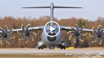 Airbus A400M Atlas - Spanish Air Force TK.23-03 (31-23) - taxiing and takeoff at Manching Air Base [2160p25]