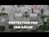 La bâche protégeant Notre Dame vue du ciel grâce à un drone