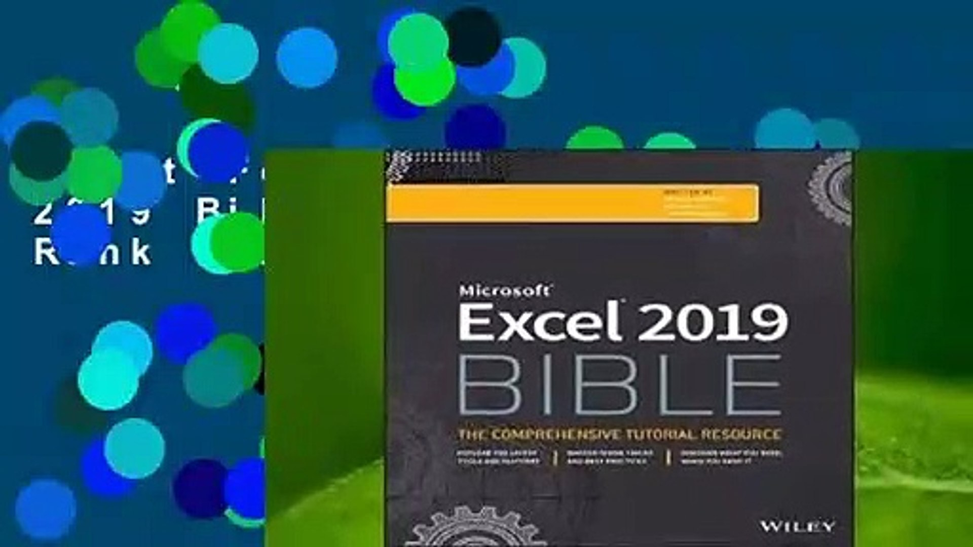 About For Books Excel 2019 Bible Best Sellers Rank : #2