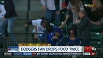 Dodgers fan drops food twice
