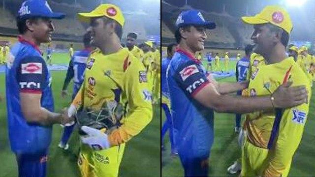 IPL 2019 : MS Dhoni Meeting Sourav Ganguly After Chennai Super Kings defeat Delhi Capitals