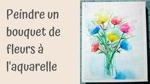 Toto aquarelle : Un bouquet de fleurs coloré et abstrait