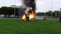 Action des pompiers grévistes à Anglet dimanche matin