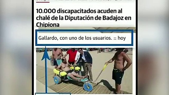 Un discapacitado echa a andar ante el presidente de Badajoz