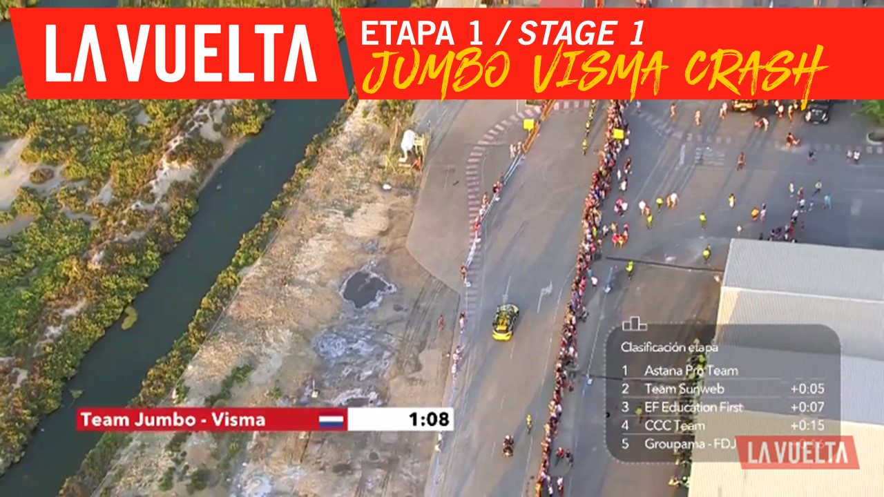 Chute du Team Jumbo Visma / Team Jumbo Visma crashes - Étape 1 / Stage 1 | La Vuelta 19