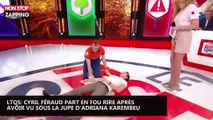 LTQS : Cyril Féraud part en fou rire après avoir vu sous la jupe d'Adriana Karembeu (vidéo)