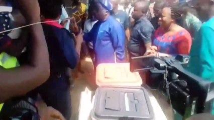 Oyo APC gov candidate, Abebayo Adelabu, and wife arrive arrive polling unit f...