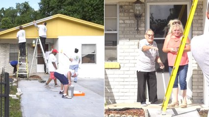 Kind-Hearted Firefighters Surprise Blind WWII Vet By Painting Home
