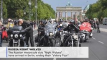 """Russian """"Night Wolves"""" ride through Berlin on WWII victory tour"""