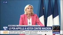 """Européennes: Marine Le Pen appelle les Français à """"voter contre Macron"""""""