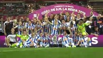 La celebración en el césped y el vestuario de la Real Sociedad, tras ganar la Copa de la Reina