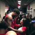 Joel Embiid crying in his girlfriends arms after game 7 loss to Toronto Raptors after Kawhi Leonard Game winner 5-12-19