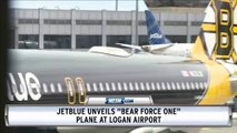 """Boston Bruins And JetBlue Unveil """"Bear Force One"""" At Logan Airport"""