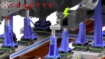 Universal jig system CAMELEON by Celette, car measuring system, car frame machine