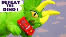 Hot Wheels Defeat the Dinosaur toys with Disney Pixar Cars 3 Lightning McQueen and DC Comics & Marvel Avengers 4 Endgame Superheroes vs Spongebob Squarepants and PJ Masks Gekko