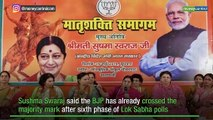 BJP has crossed majority mark after sixth phase of Lok Sabha polls: Sushma Swaraj