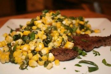 Carne Asada and Roasted Corn and Poblano Salad