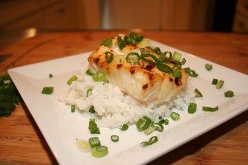 Miso Glazed Lingcod with Sticky Rice
