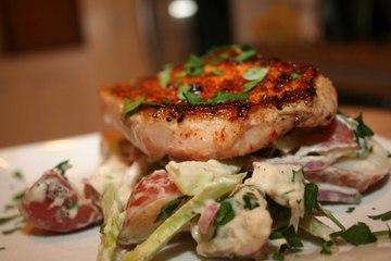 Smokey Pork Chops with Warm Potato Salad