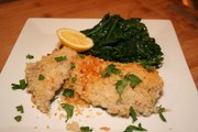 Panko Crusted Black Cod with Sautéed Spinach