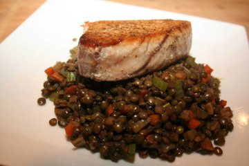 Albacore with Lightly Curried French Lentils