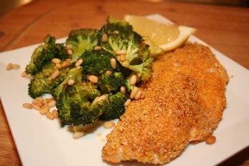 Pan Fried Rock Fish with Roasted Lemony Broccoli