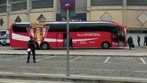 Real Zaragoza-Sporting: Llegada del Sporting a La Romareda