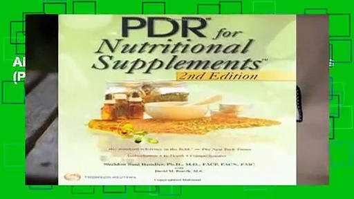 About For Books  PDR for Nutritional Supplements (Pdr for Nutritional Supplements) (Physicians