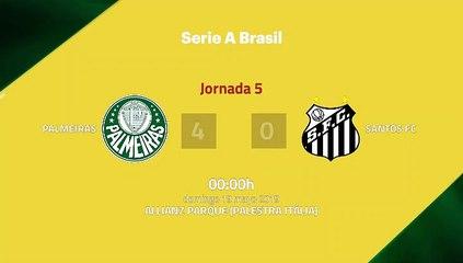 Resumen partido entre Palmeiras y Santos FC Jornada 5 Liga Brasileña