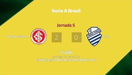 Resumen partido entre Internacional y CSA Jornada 5 Liga Brasileña